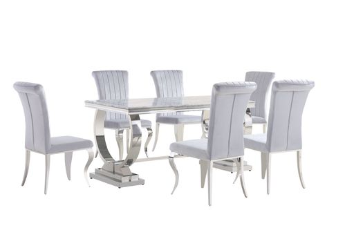 180cm Louis marble dining table and 6 chairs