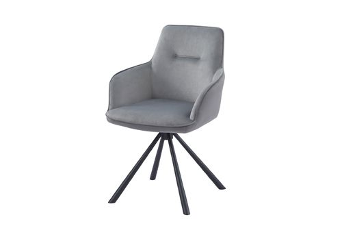 Grey velvet carver style dining chairs - Pair