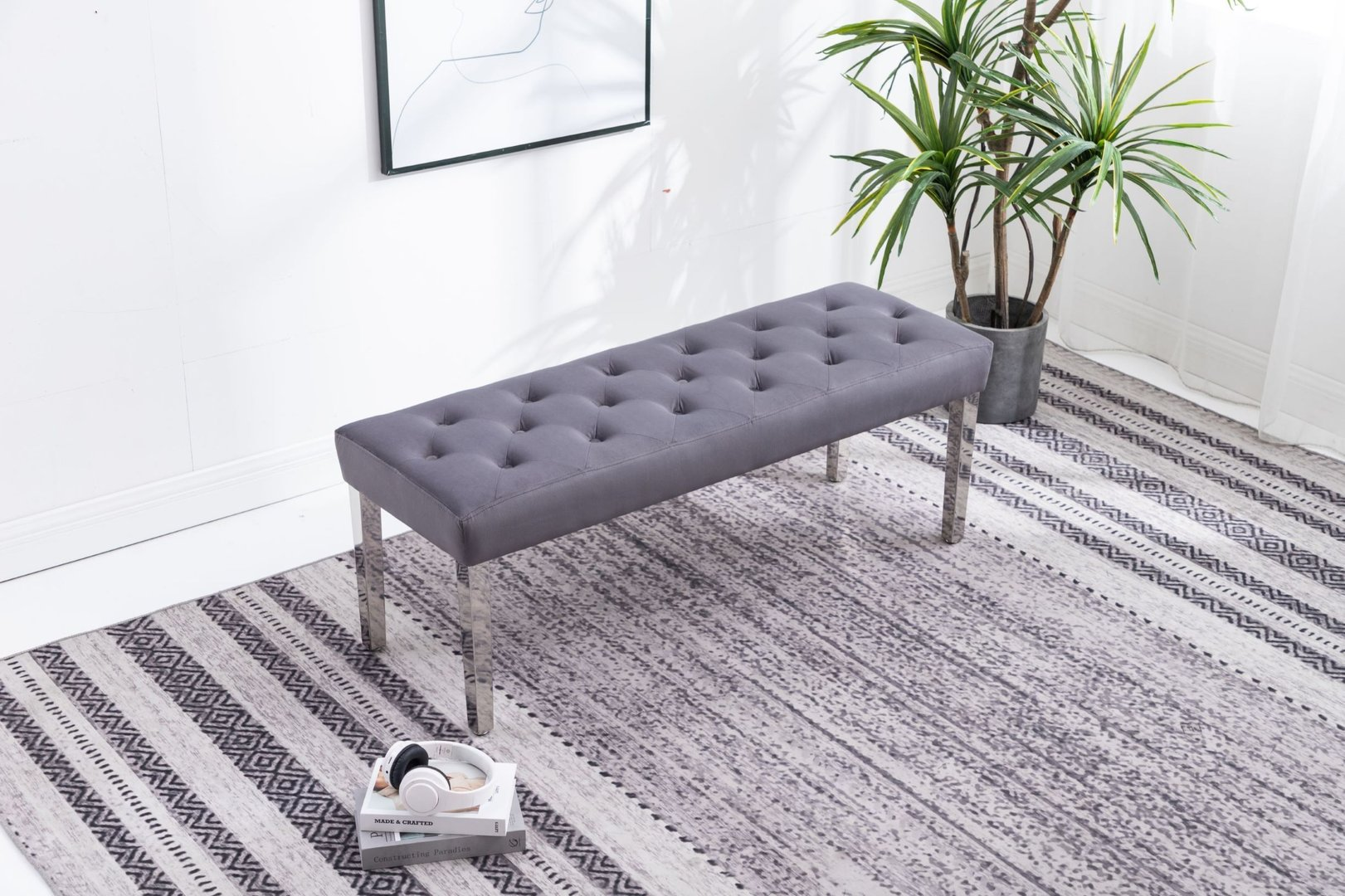 Picture of: Dark Grey Velvet Dining Bench Homegenies