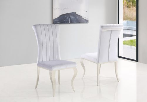 Grey velvet dining chair with stainless steel legs