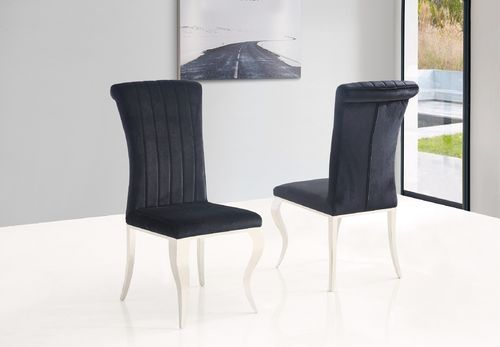 Black velvet dining chair with stainless steel legs