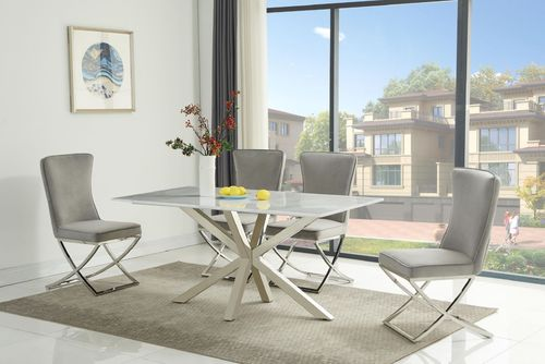 White & Grey Ceramic Dining Table and 6 Grey Chairs