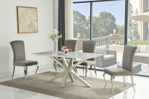 160cm White Ceramic Dining Table and 6 Grey Chairs Set