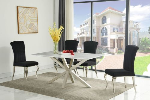 160cm White Ceramic Dining Table and 6 Black Chairs Set