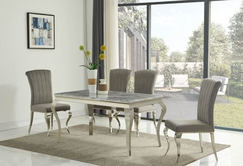 140cm Louis grey marble dining table and 4 velvet chairs