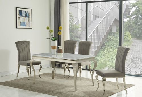 140cm white marble dining table and 4 grey velvet chairs