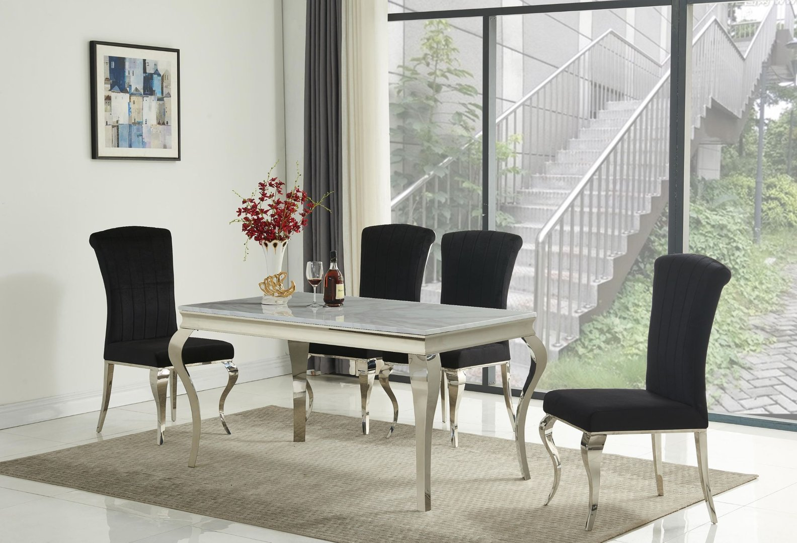 White marble dining table and 4 black velvet chairs ...