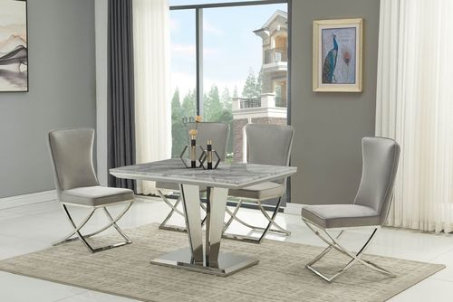 120cm Grey marble dining table with 4 grey velvet chairs