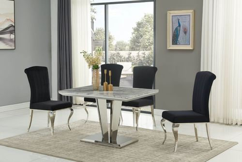 Grey marble / stainless steel dining table and 4 black chairs