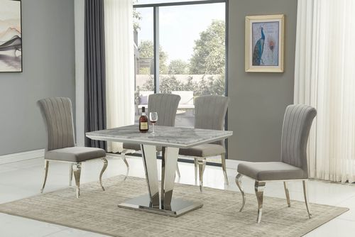 Grey marble / stainless steel dining table and 4 grey chairs