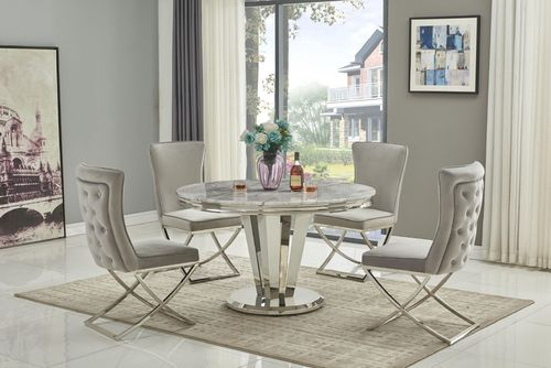 130cm Round marble dining table and 4 light grey chairs