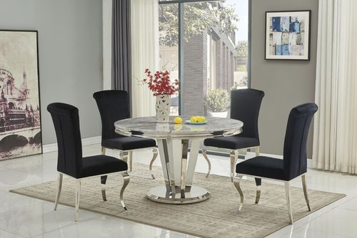 130cm Round marble dining table and 4 black chairs