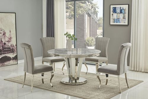 130cm Grey round marble dining table and 4 chairs
