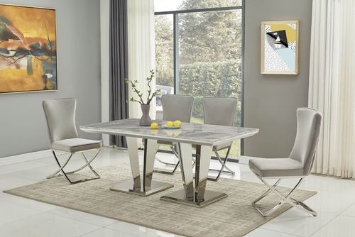180cm Grey marble dining table with 6 grey velvet chairs