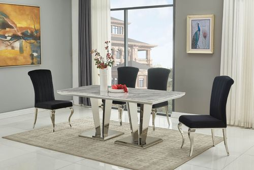 180cm Grey marble dining table and 6 black chairs