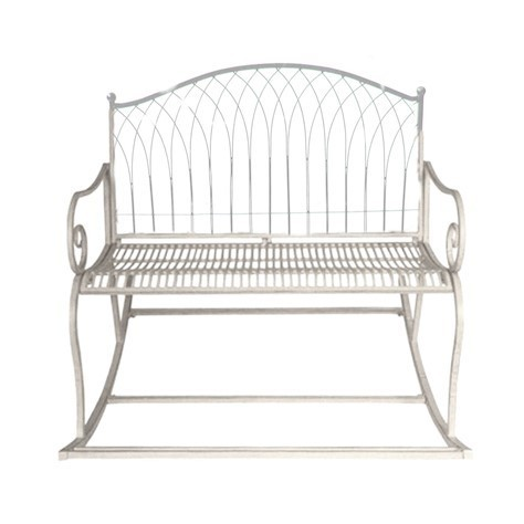 Vintage Cream metal rocking garden bench