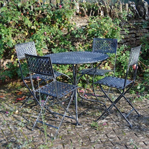 Pewter metal garden bistro table and 4 chairs set