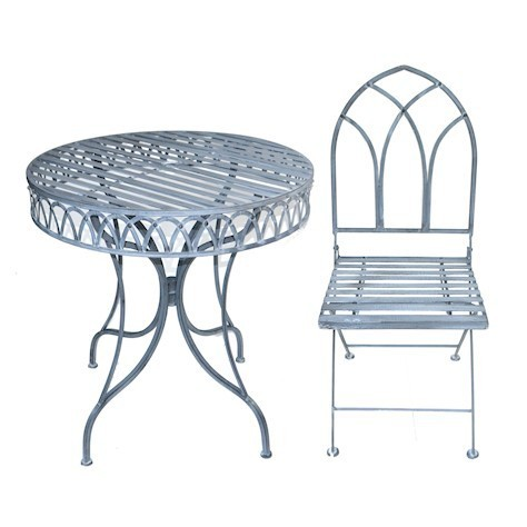 Gothic metal garden table and 2 chairs bistro set