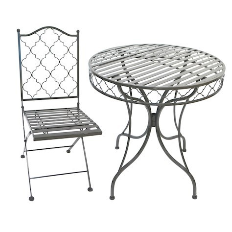 Grey metal garden bistro table and 2 chairs set