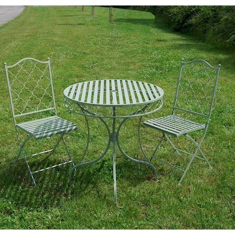 Sage green metal garden bistro table and 2 chairs set