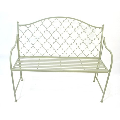 Sage green vintage metal garden bench
