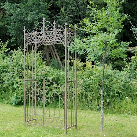Vintage antiqued green metal garden arch with gates