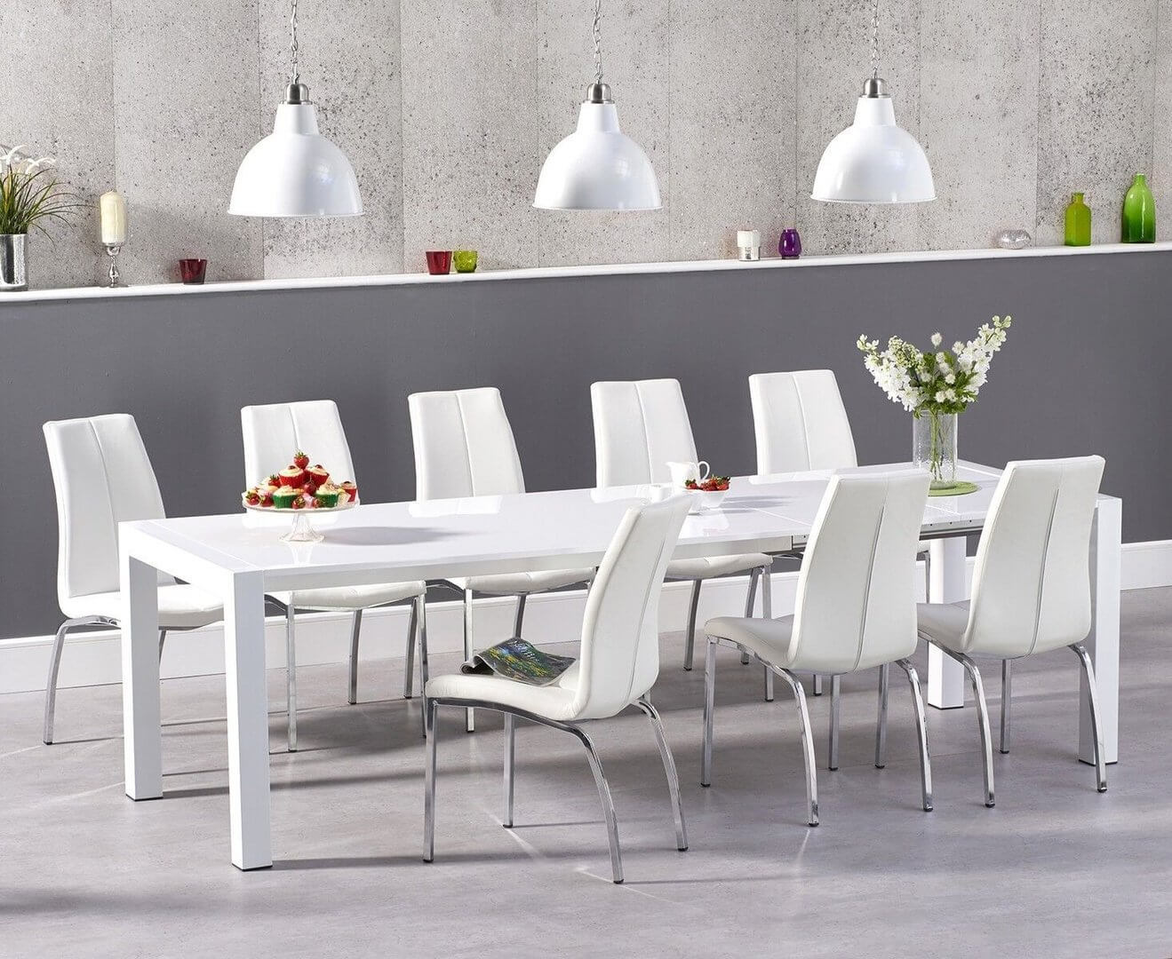 High gloss dining table and 12 chairs sets