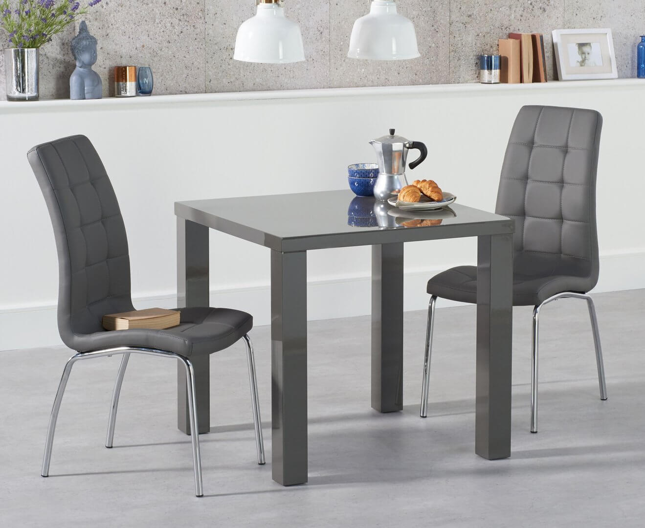High gloss dining table and 2 chairs sets