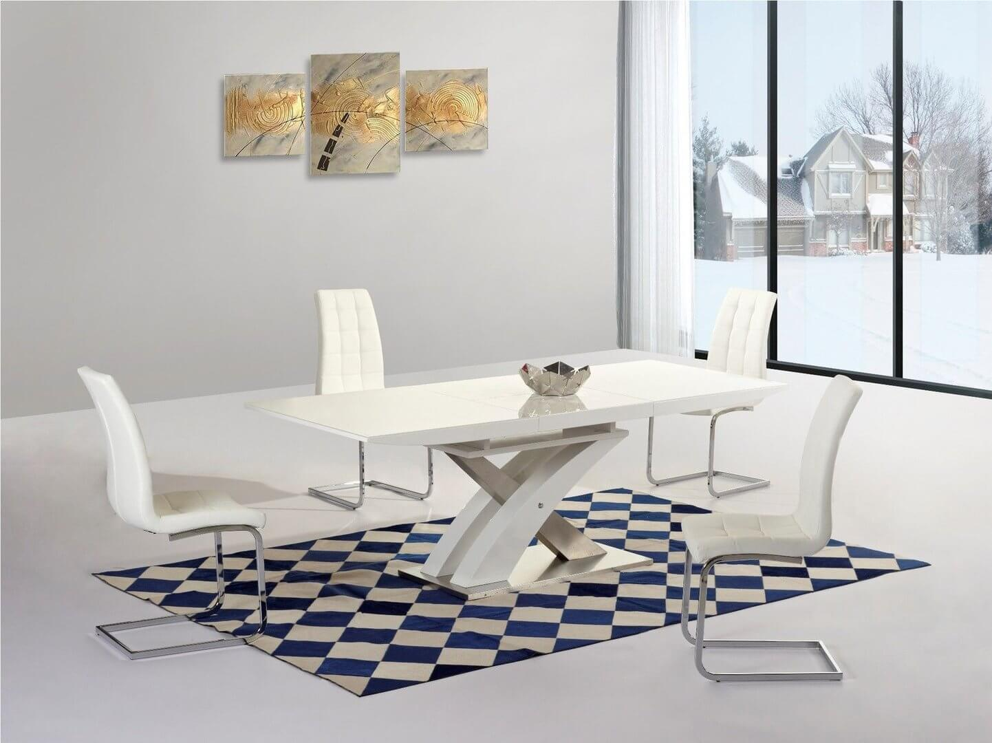 High gloss dining table and 6 chairs sets