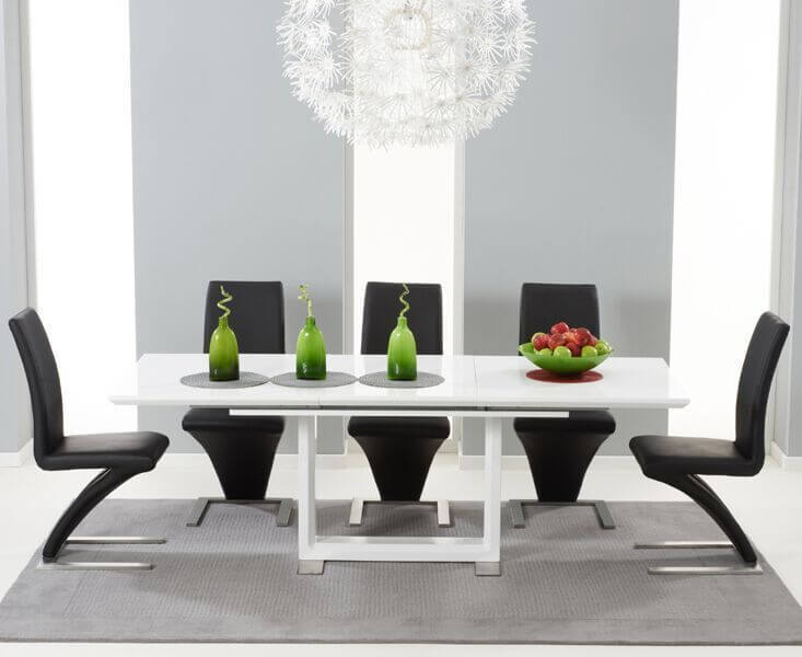 High gloss dining table and 8 chairs sets