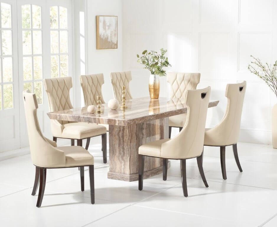 Marble dining table and chairs sets