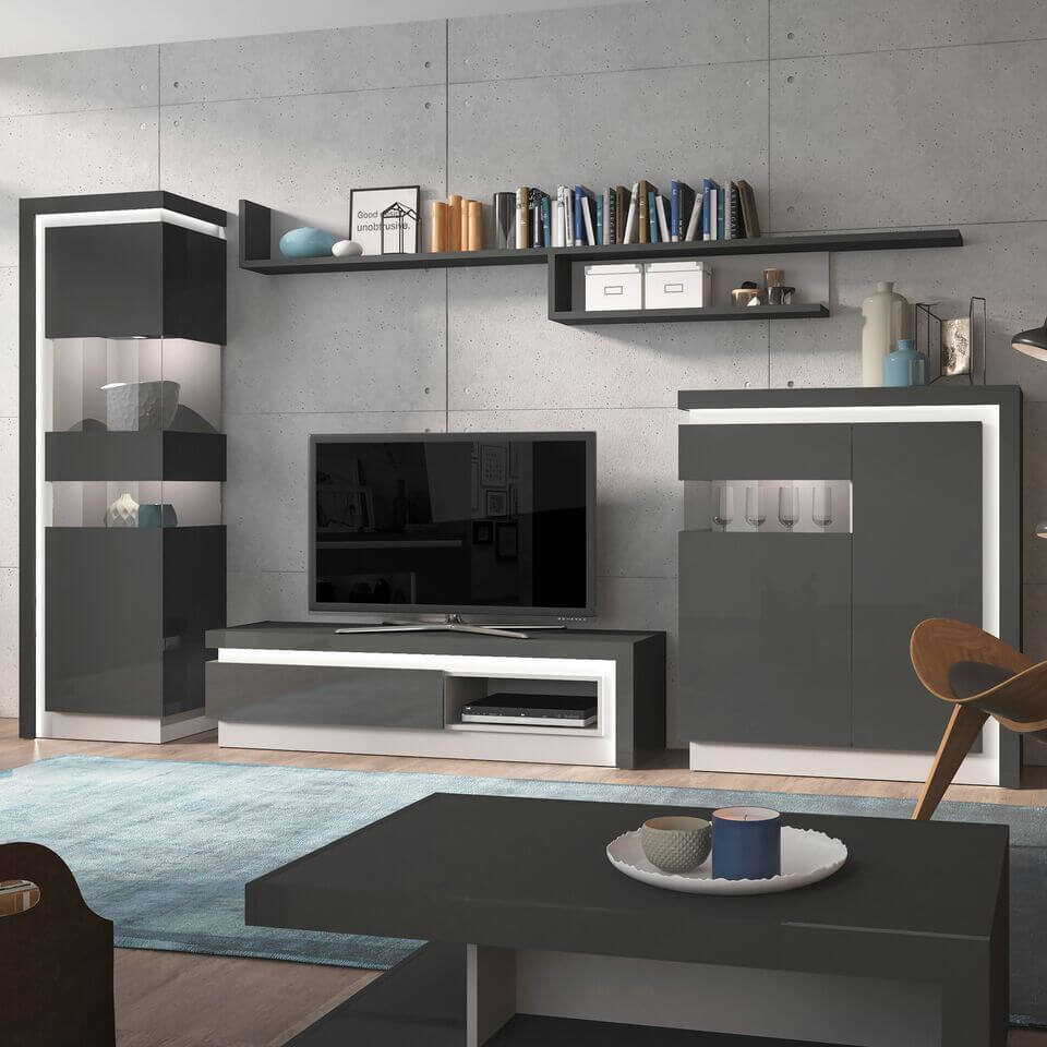 TV units and stands in high gloss, glass