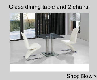 Glass dining table and 2 chairs