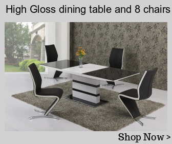 High gloss dining table and 8 chairs