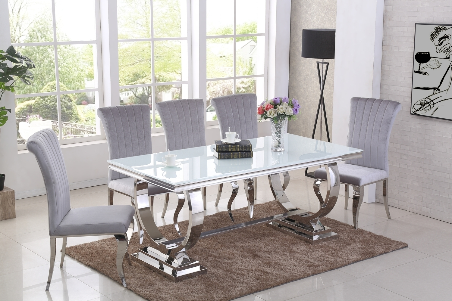 Full_chrome_and_white_glass_dining_table_and_6_grey_velvet_chairs