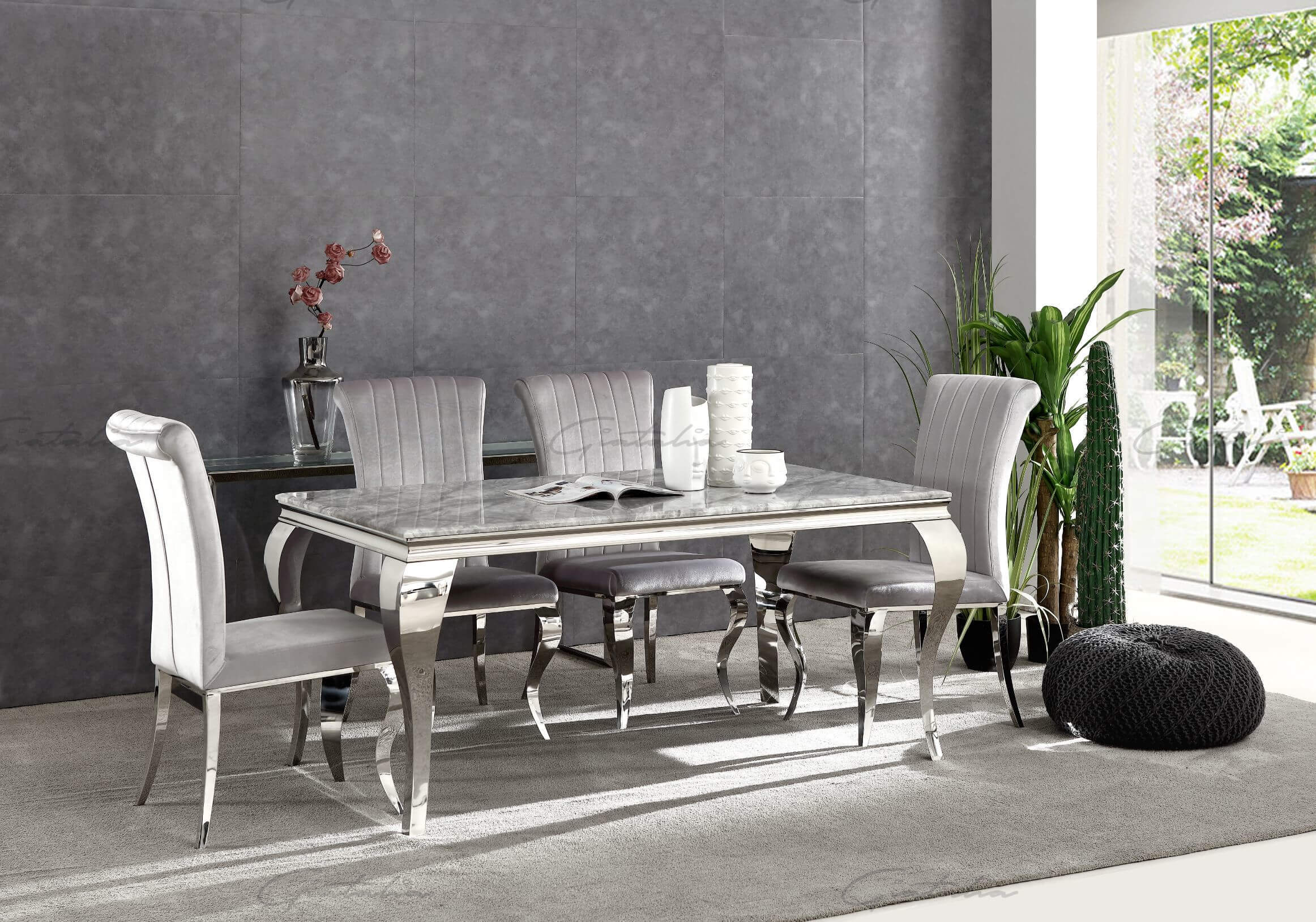 Grey Marble Dining Table and 4, 6 Grey Velvet Chairs