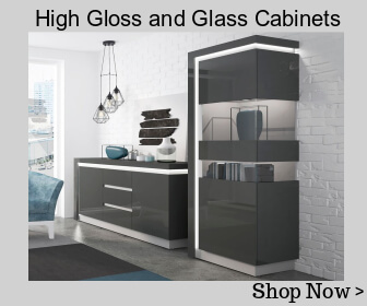 High gloss and glass cabinets